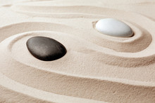 Zen Garden Stones On Sand With...