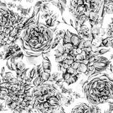 Letni akwarela Vintage kwiatowy bukiet z kwitnących hortensji, frezji, róż, kwiatów ogrodowych, akwarela botaniczny naturalny ilustracja na białym tle - 247083207