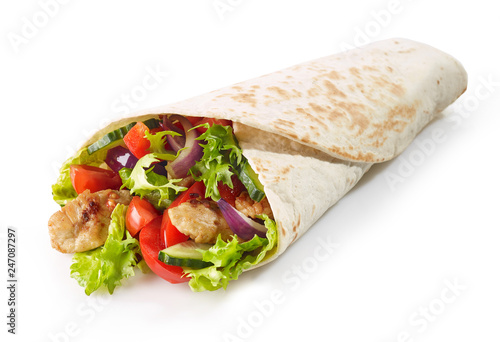 Fotografie, Obraz  Tortilla wrap with fried chicken meat and vegetables