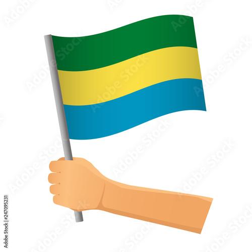 Fotografie, Obraz  Gabon flag in hand
