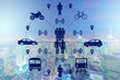 canvas print picture - Ridesharing and carpooling concept in the city