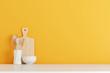 Leinwandbild Motiv kitchen utensils with yellow wall on white table. 3d rendering
