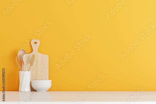 Pinturas sobre lienzo  kitchen utensils with yellow wall on white table. 3d rendering