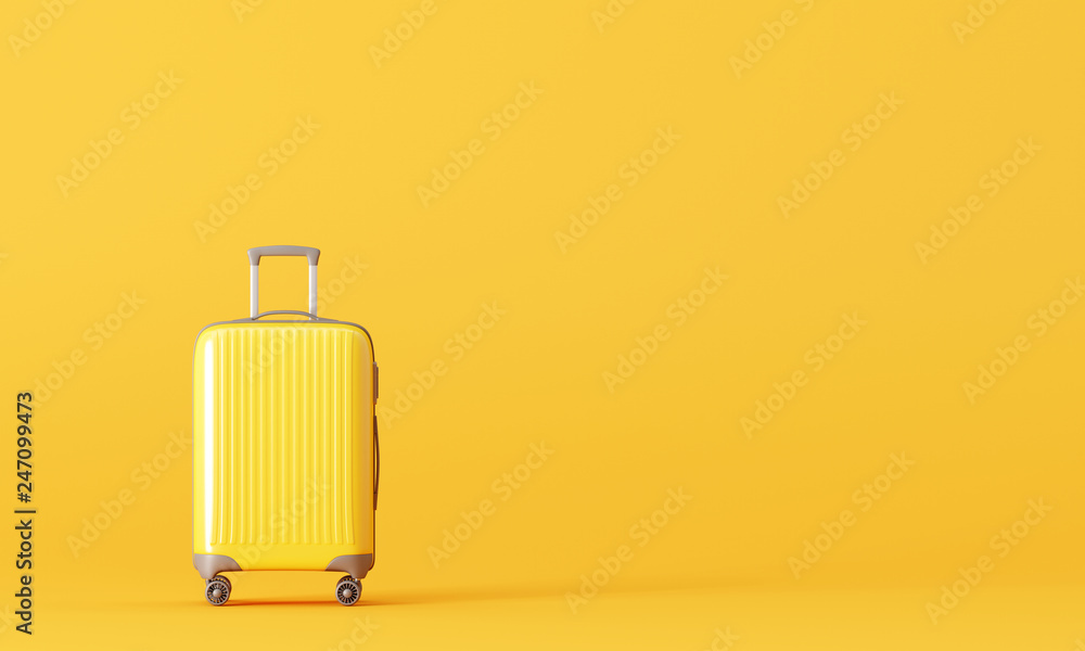 Fototapety, obrazy: Suitcase on yellow background. travel concept. 3d rendering