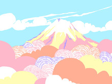 Japan Countryside Landscape, Cherry Blossom Trees With Mount Fuji In And Clear Blue Sky Background, Colorful Pastel Theme