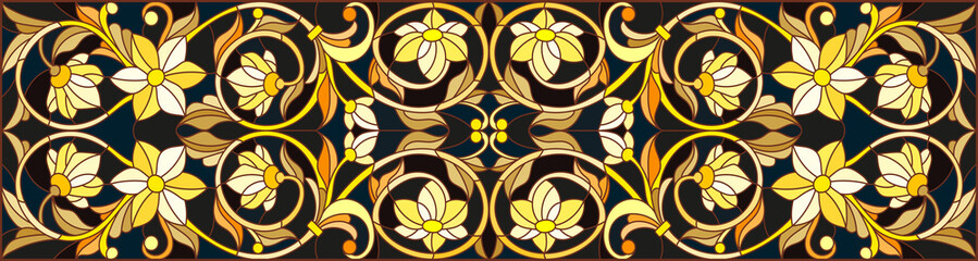 NaklejkaIllustration in stained glass style with floral ornament ,imitation gold on dark background with swirls and floral motifs