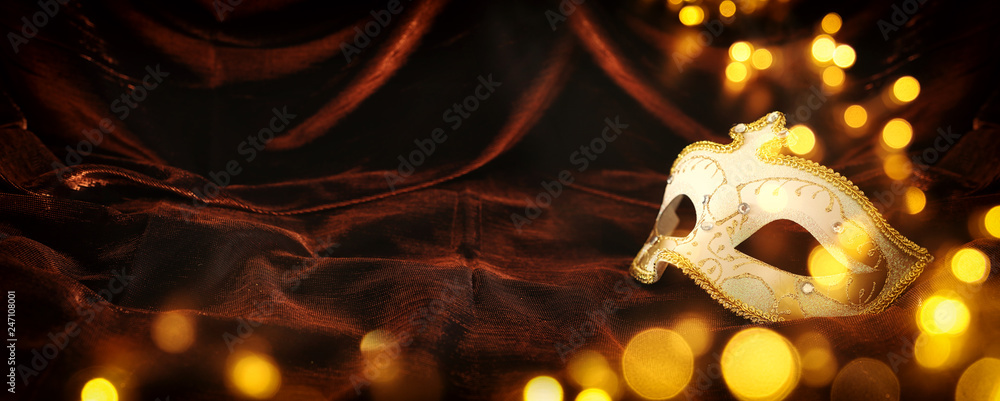 Fototapety, obrazy: Photo of elegant and delicate gold, white venetian mask over dark velvet and silk background.