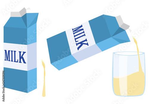 青い牛乳パックと注がれるコップ Milk carton. Cup of milk Slika na platnu