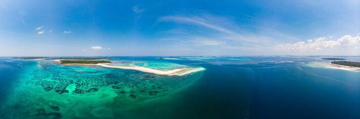 Aerial view tropical beach island reef caribbean sea. White sand bar Snake Island, Indonesia Moluccas archipelago, Kei Islands, Banda Sea, travel destination, best diving snorkeling