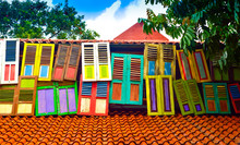 Colorful Windows In The Old Vintage Buildings In The Open Air For Historical Rain Forest Tropical Jungle Complex