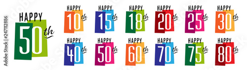 Happy 10th Birthday to Happy 80th Birthday Tableau sur Toile