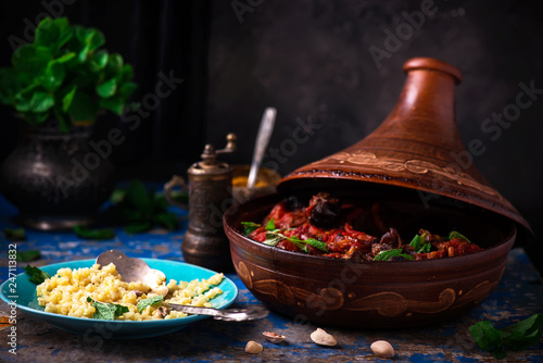 Tajin with lamb and dried fruits.style rustic