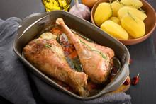 Roasted Turkey Legs With Veget...