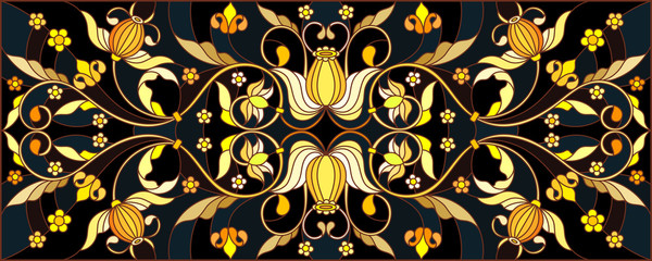 FototapetaIllustration in stained glass style with floral ornament ,imitation gold on dark background with swirls and floral motifs