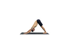 Profile Of Muscular Handsome Young Man Working Out, Standing In Yoga Upward, Downward Facing Dog Pose, Then Streching His Arms On White Background.