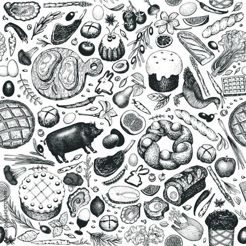 Türaufkleber Künstlich Easter dinner seamless pattern. Vector hand drawn illustrations. Happy Easter dinner retro design. Background with food, meat, vegetables, pastry, bakery.