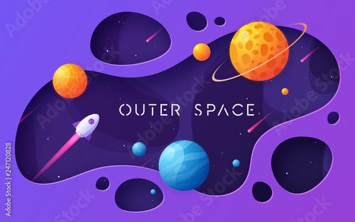 Fotografie, Obraz  Colorful cartoon outer space background, design, banner, artwork