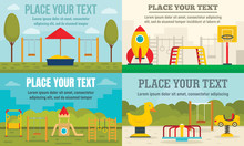 Kid Playground Banner Set. Flat Illustration Of Kid Playground Vector Banner Set For Web Design