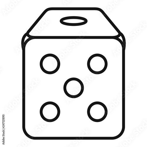 Dice cube icon  Outline dice cube vector icon for web design
