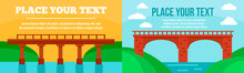 Bridges Banner Set. Flat Illus...