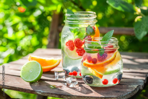 Fresh lemonade with mix of fruits with in summer