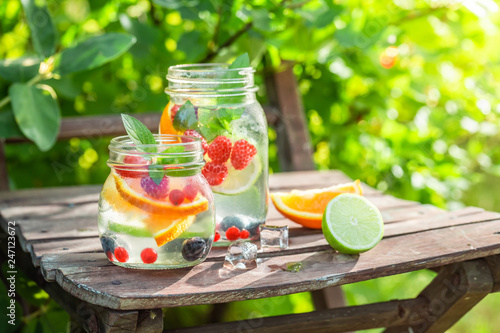Healthy lemonade with mix of fruits with in summer