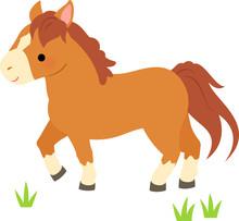 草むらを歩く茶色い馬