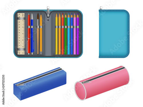 Cuadros en Lienzo Pencil case icons set