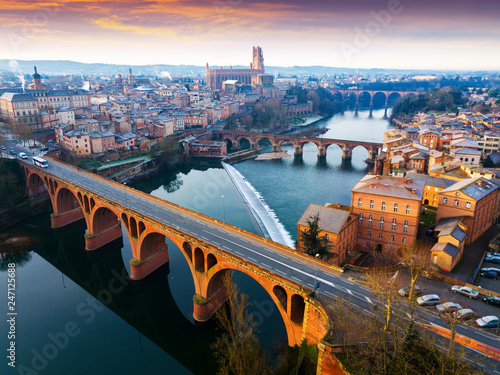 Photo The ancient city of Albi in the south of France. View from above