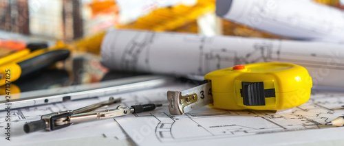 architect design working drawing sketch plans blueprints and making architectural construction model in architect studio long banner