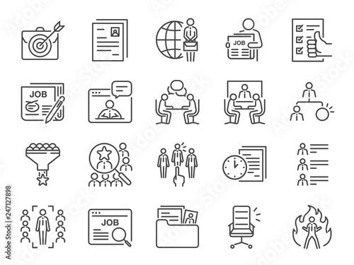 Fotomural Jobs line icon set