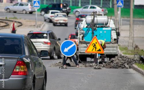 Fényképezés  Road works caused traffic jam