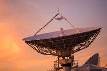 Big Satelite Dish At Dusk