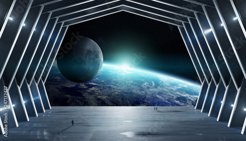 Huge hall spaceship interior 3D rendering elements of this image furnished by NASA