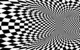 Fototapeta Do przedpokoju - Abstract Wormhole Tunnel. Black and white square optical illusion. Abstract chess illusion background. Vector illustration