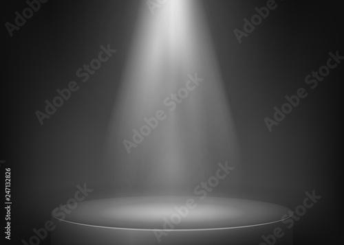 Recess Fitting Light, shadow Scene illuminated spotlight. Show spotlight background. Light beam on stage. Vector illustration