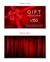 Elegant Red Gift Voucher With Bow And Sample Text
