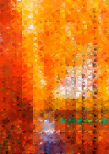 Abstract Stained Glass Background With Autumn Leaves Yellowed