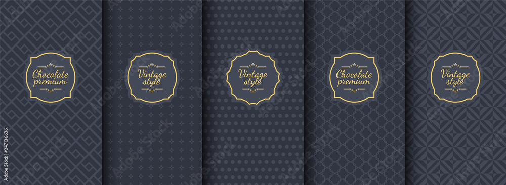 Fototapety, obrazy: Set of dark vintage seamless backgrounds for luxury packaging design.