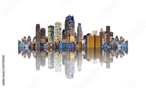 Futuristic modern buildings with reflection, isolated on white ...