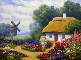 Fototapeta Wiejski Oil paintings rural landscape.Old village, fine art.