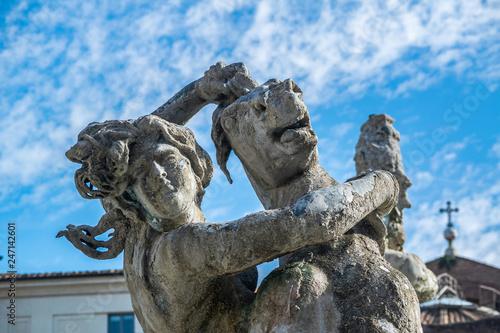 Fotografia  Fontana delle Naiadi statue of a woman holding a horse at piazza della repubblic