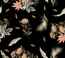 Beautiful Sweet Mood Summer Wild Forest Full Of Blooming Flower In Many Kind Of Floral Seamless Pattern Design Hand Drawing Style For Fashion