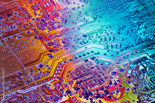 Fotografie, Obraz  Circuit Board Multicolored Background