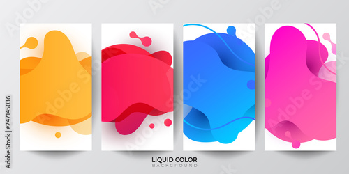 Dynamic liquid shapes. Set of Phone payment - 247145036