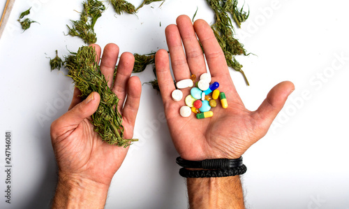 Valokuva  Person holding marijuana and medical pills