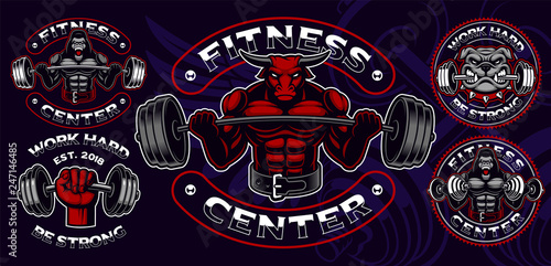 Set of colored badges, logos, shirt prints for gym theme. Canvas