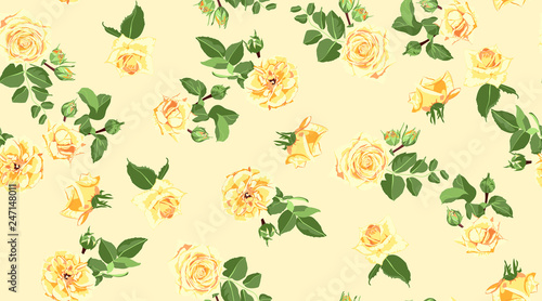 Fototapety, obrazy: Seamless Floral Background with Watercolor Roses.