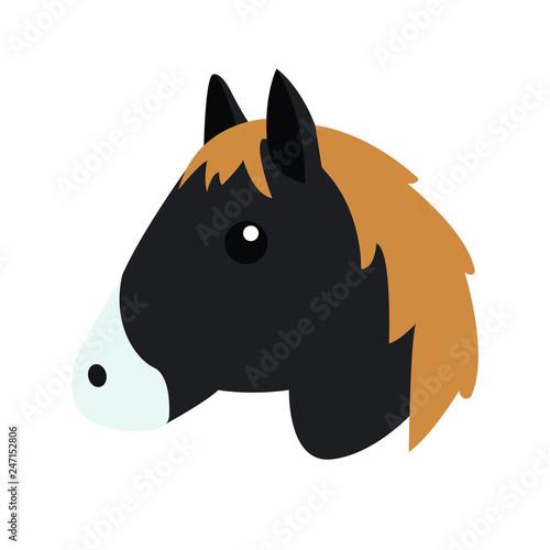 Black horse head emoji vector