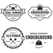 Set of mining or construction logos, badges, emblems and labels in vintage style. Monochrome Graphic Art. Vector Illustration.